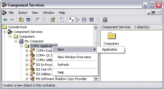 Installing & Running ASP Printer COM In The Windows COM+ Component Services - running the component form ASP pages